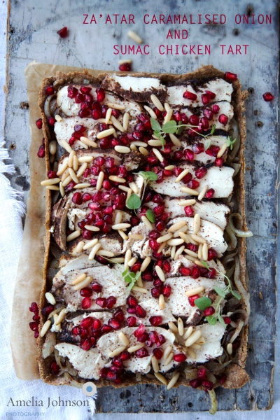 Amelia johnson photography Zaatar Caramelised Onion and sumac chicken tart copy